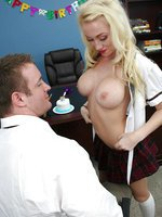 Hot ass Madison Scott uses her perfect tits to seduce her principal
