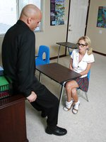 Nice Nerdy blonde schoolgirl gets fucked all around classroom