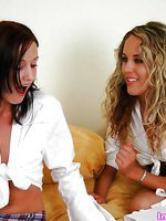 Watch these sexy babes playing with each other wet twats
