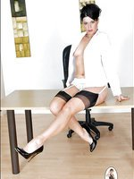 Mature leggy office boss