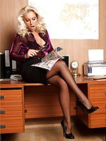 Horny Lana gets caught masturbating in the office and is forced to suck dick