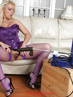 Lana wearing purple stockings and riding a Fuck Machine