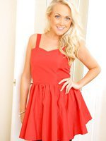 Lucy Anne looks stunning as she slowly teases her way out of her gorgeous red dress