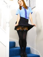 Gorgeous Sophia Smith in sexy college uniform and thick black stockings.