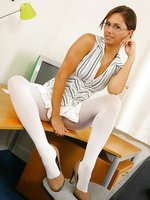 Louise L looking stunning in a sexy light secretary outfit with white pantyhose.