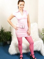Delicious Jana B in a tight pink minidress and pink pantyhose.