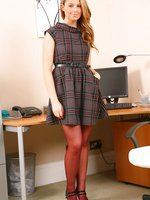 Kimberley looking lovely as ever in grey check dress and black patent heels.