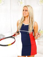Beautifull blonde strips out of her sexy tennis kit.