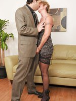 Cock hungry Anilos grandma wears heels and stockings as she fucks her boss