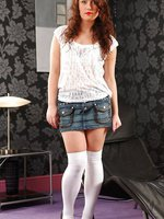 Cute Marissa tease her way from denim miniskirt and white blouse