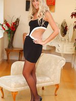 Sara in her own LBD matched perfectly with sheer black stockings
