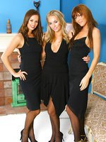3 gorgeous girls give us a delightful treat in sexy black evening dresses, stockings and thongs.