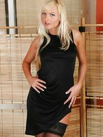 Sandra in black miniskirt with black holdups