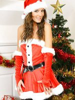 Nicole in stockings and santa costume