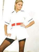 Naughty Nurse Jennifer in black holups