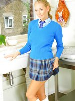 Hayley Marie is looking sexy in blue plaid college with knee socks