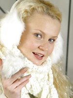 Gorgeous blonde Karen in winter coat with lingerie underneath