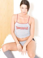 Sultry brunette babe Beckie in gym kit