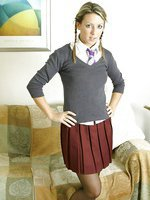 Sabrina in college uniform with stockings and ankkle socks.