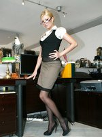 Blonde office babe Donna Bell in black thigh highs