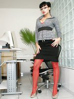 Hot office babe Aletta Ocean in red stockings and heels
