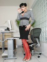 Secretary Aletta Ocean in red lingerie and stockings