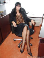 Hot office babe Suzy in sheer dark stockings