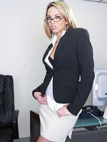 Blonde office secretary Jenny Hendrix teasing