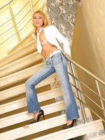 Sexy Barbie Gold on the stair case strips and fuck