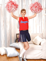 Busty hot Edo teases as cheerleader