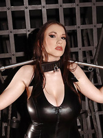 Busty babe Anna Song in tight latex