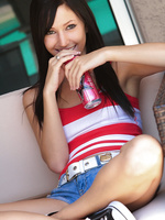 Catie Minx issues an extreme camel toe alert in tight jean shorts