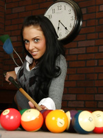 Stephanie Cane plays pool and masturbates with a blue vibrator