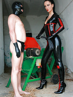 Mistress in latex plays cruel games