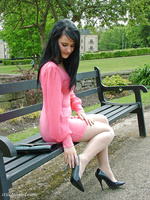 This horny stiletto girl looks amazing in her high heels and pink dress