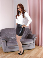 Horny slut wearing a tight leather skirt and gorgeous high heels