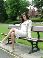 A walk in the park in fully fashioned stockings and cream stilettos