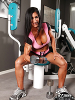 Elisa Ann Costa shows off her big strong muscles and vascularity in the gym naked!