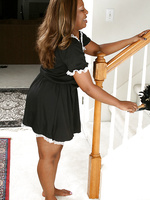 Starr A from AllOver30 spreads her black ass after dusting the stairs