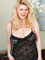 51 year old Venice from AllOver30 posing and spreading in black lingerie