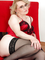 43 year old Mareaux from AllOver30 looks spicy hot in red lingerie
