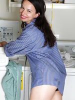 Horny 30 year old Severine breaks from doing laundry to spread ass