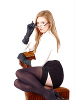 Hot horny Secretary Louise pushes her pen a bit too far with her sexy leather gloves on