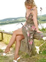 Summer dress and sheer to waist pantyhose
