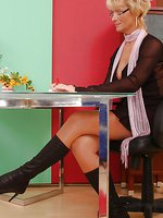 Joanne as sexy secretary in suntan pantyhose and boots