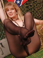 Angel in black sheer pantyhose
