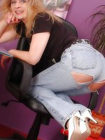 Angel in tattered jeans and shiny pantyhose