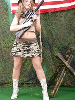 Celina as military girl in shiny pantyhose and boots