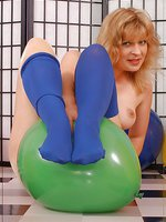 Balloon playing in stockings over pantyhose