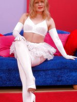 Blonde in white stockings over pantyhose